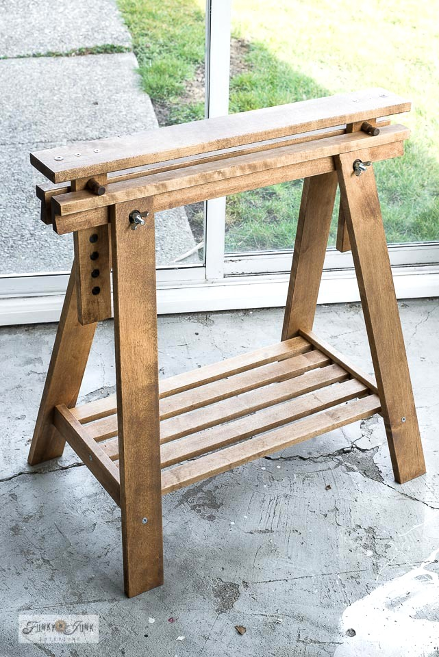 DIY a rustic Ikea trestle sewing table or desk - Funky ...