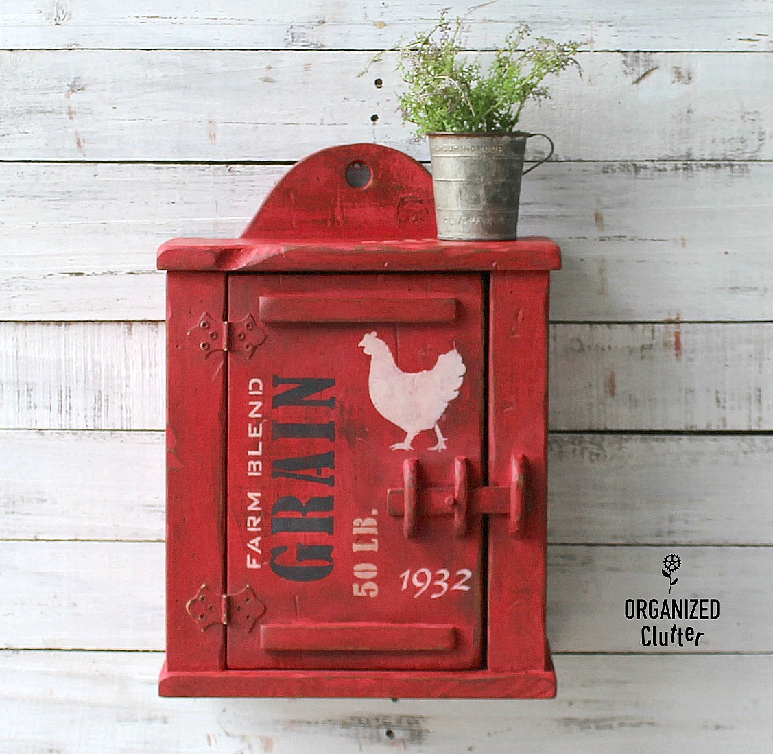 Farmhouse styled milk painted wall cabinet by Organized Clutter, featured on Funky Junk Interiors