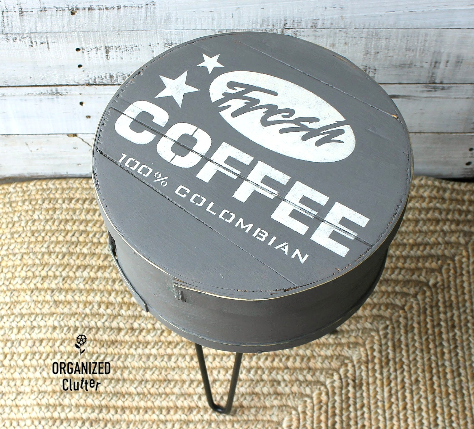 Stenciled coffee-themed cheese box on pin legs by Organized Clutter, featured on Funky Junk Interiors