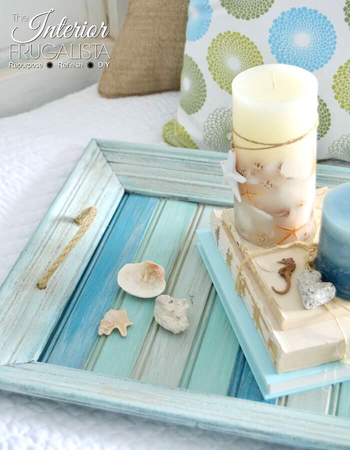 Picture frame beach tray by Interior Frugalista, featured on Funky Junk Interiors