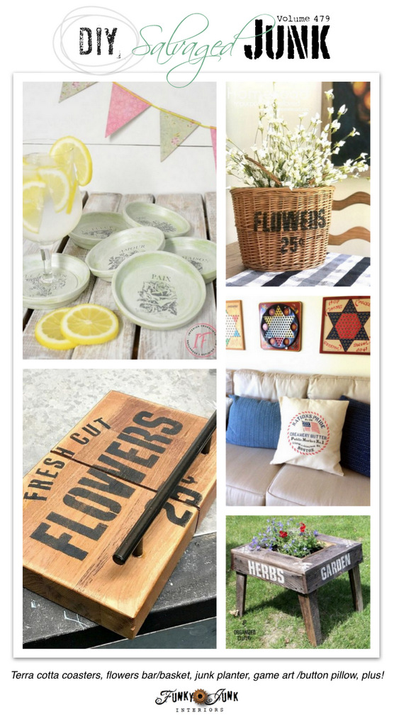 DIY Salvaged Junk Projects 479 - Terra cotta coasters, flowers bar/basket, junk planter, game art /button pillow, plus! New up-cycled projects link party!