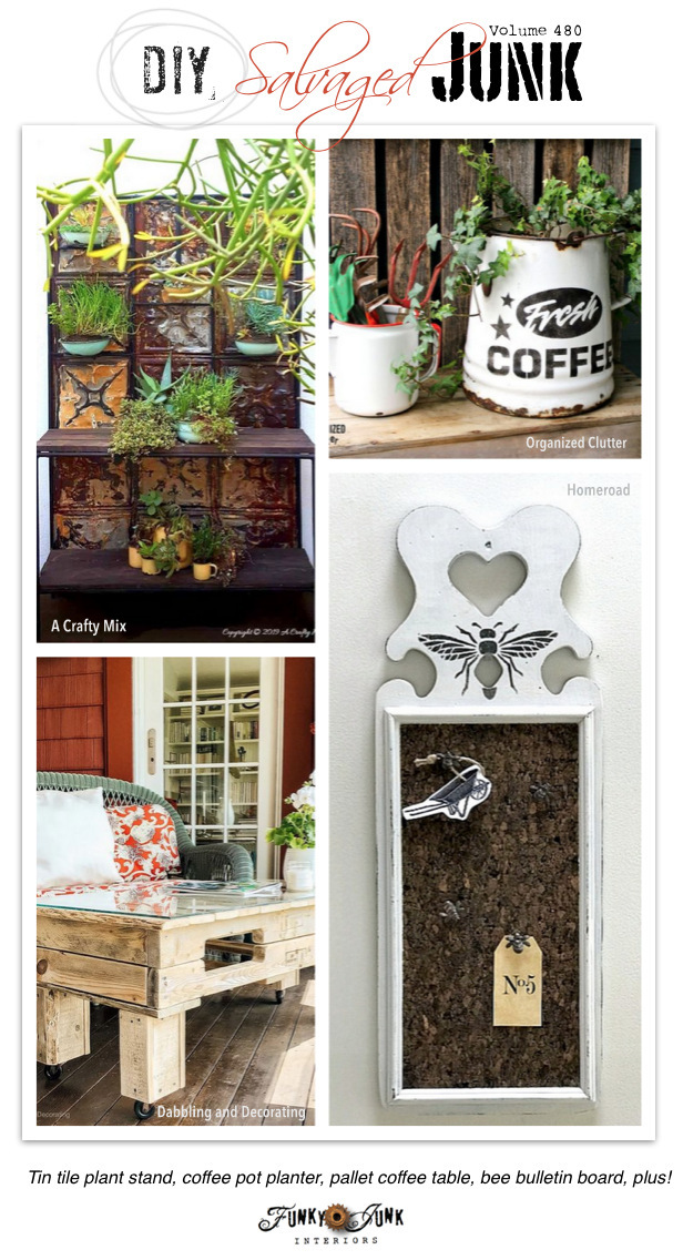 DIY Salvaged Junk Projects 480 - Tin tile plant stand, coffee pot planter, pallet coffee table, bee bulletin board, plus! New up-cycled projects link party.