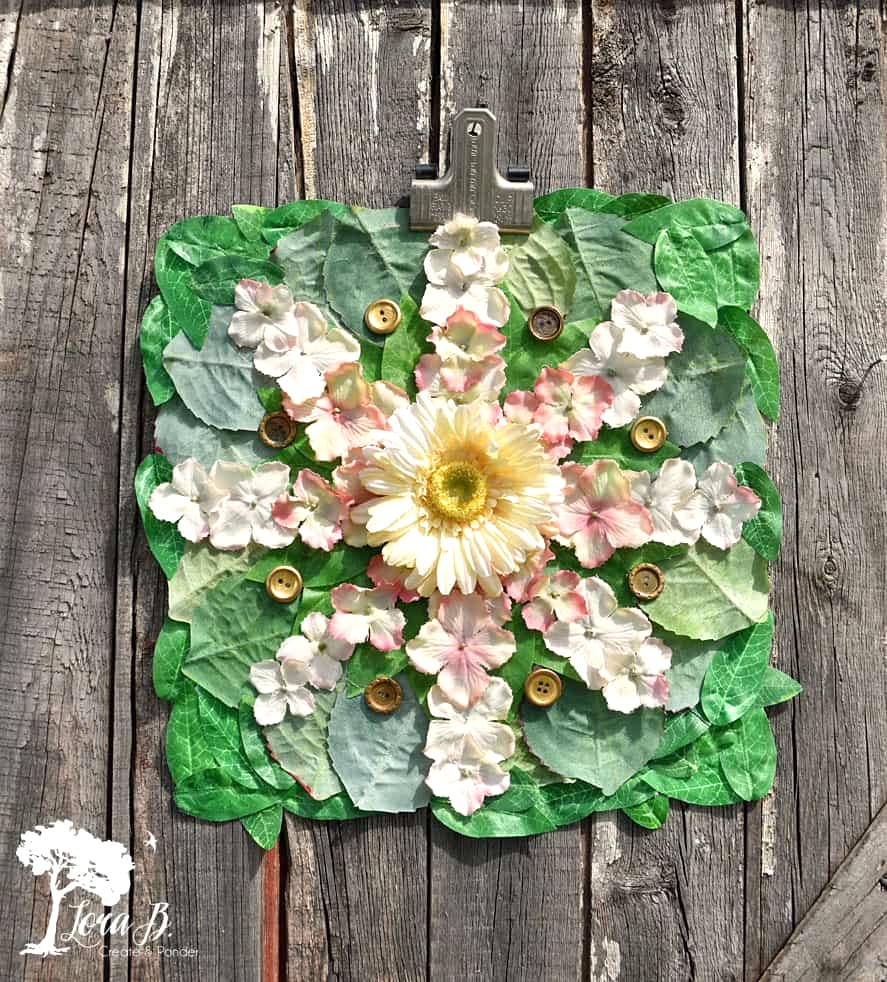 Faux flower mosaic by Lora B, featured on Funky Junk Interiors