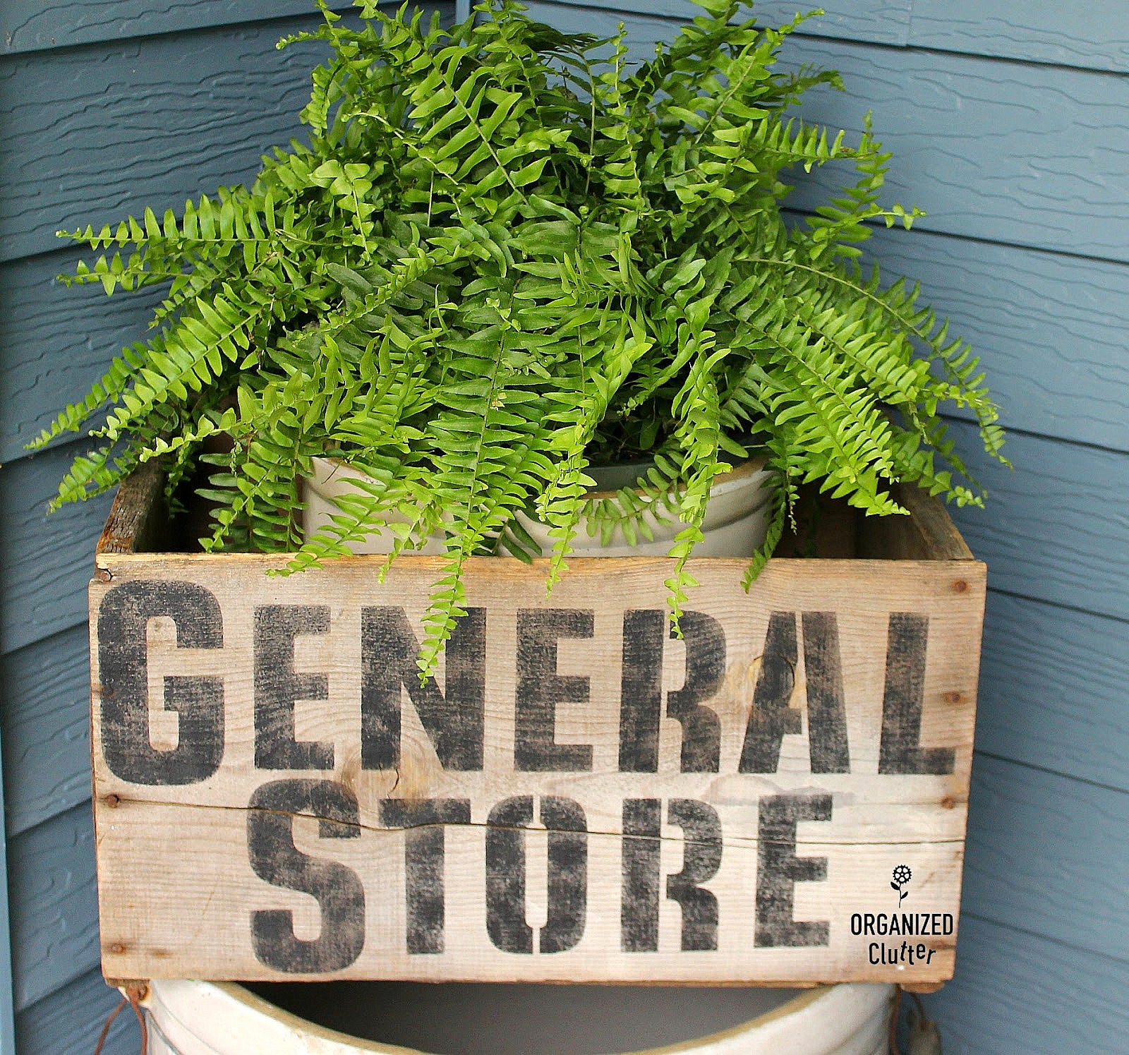 General Store crate planter by Organized Clutter, featured on Funky Junk Interiors
