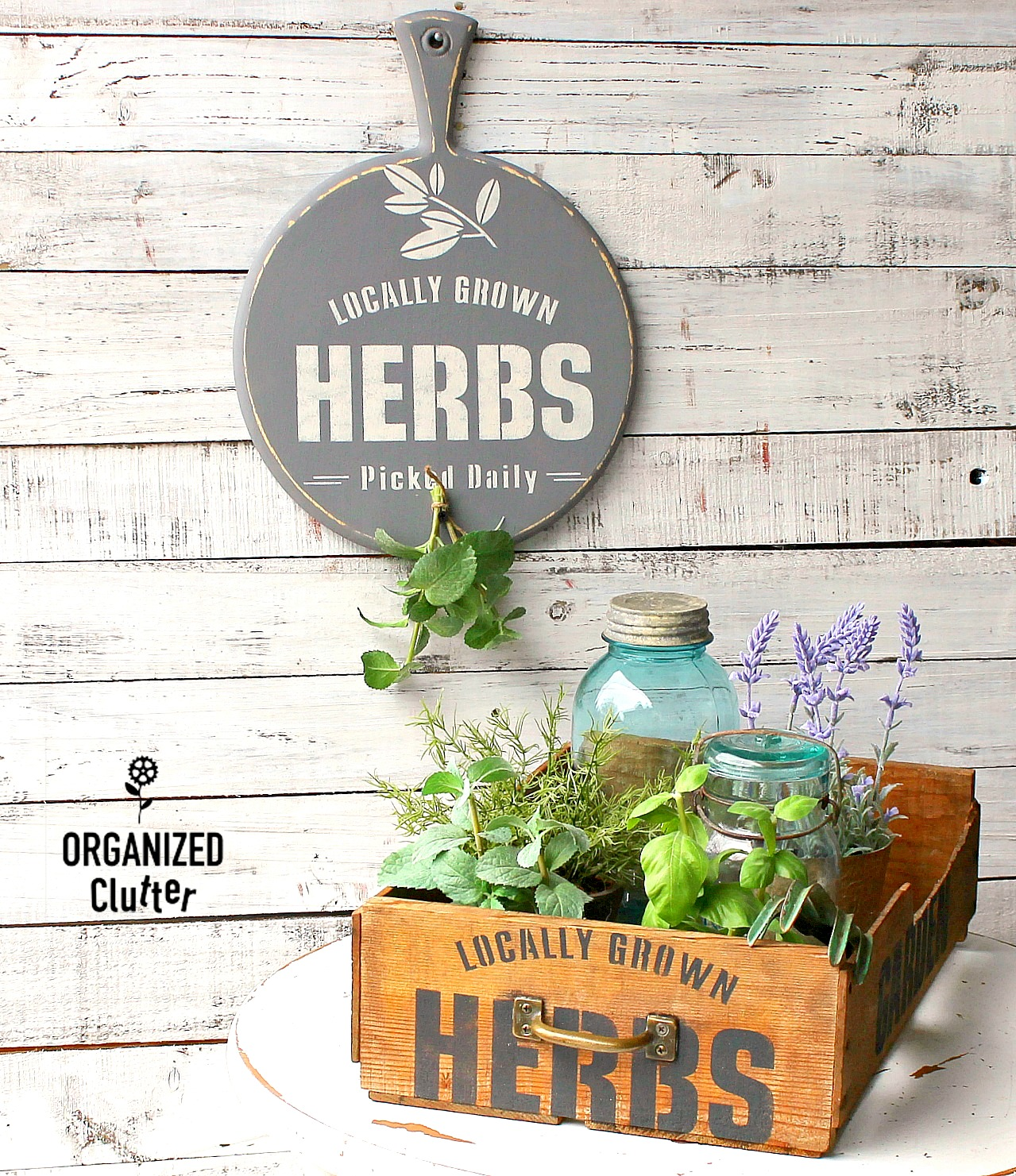 Herb cutting board sign and crate planter by Organized Clutter, featured on Funky Junk Interiors