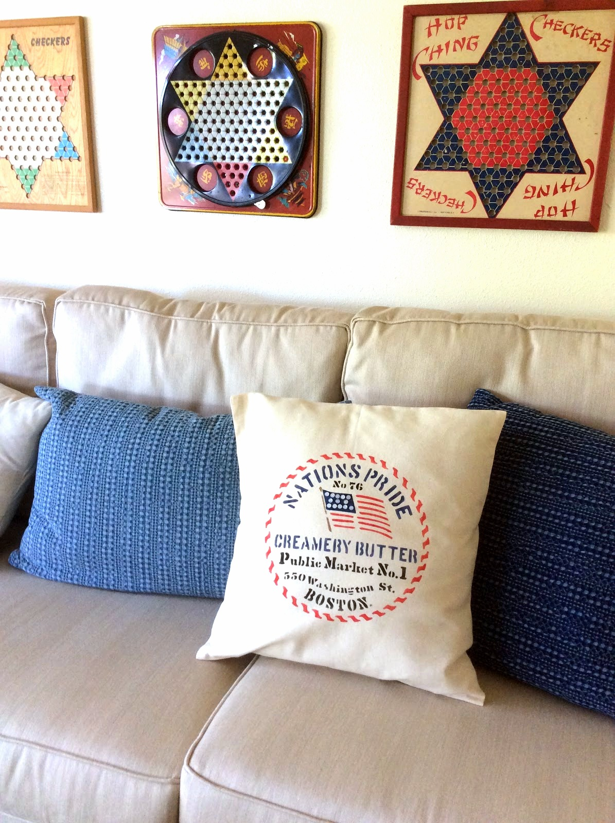 American stenciled pillow with button flag with vintage game wall art by Fresh Vintage by Lisa S, featured on Funky Junk Interiors