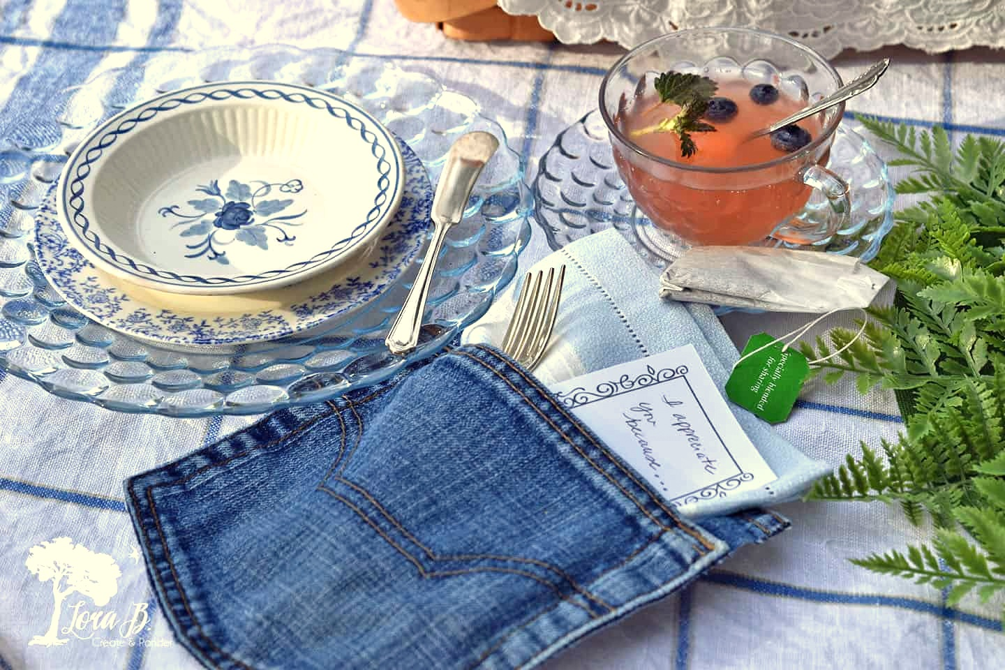 Denim pocket place setting decor by Lora B, featured on Funky Junk Interiors