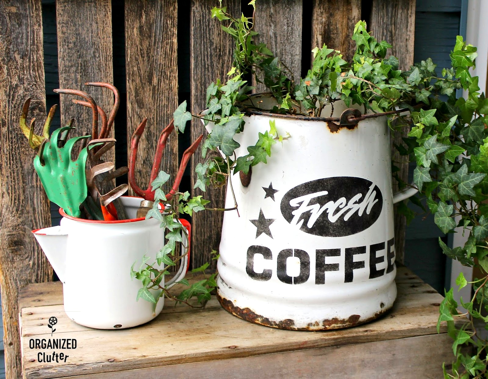 Stenciled coffee planter by Organized Clutter, featured on Funky Junk Interiors