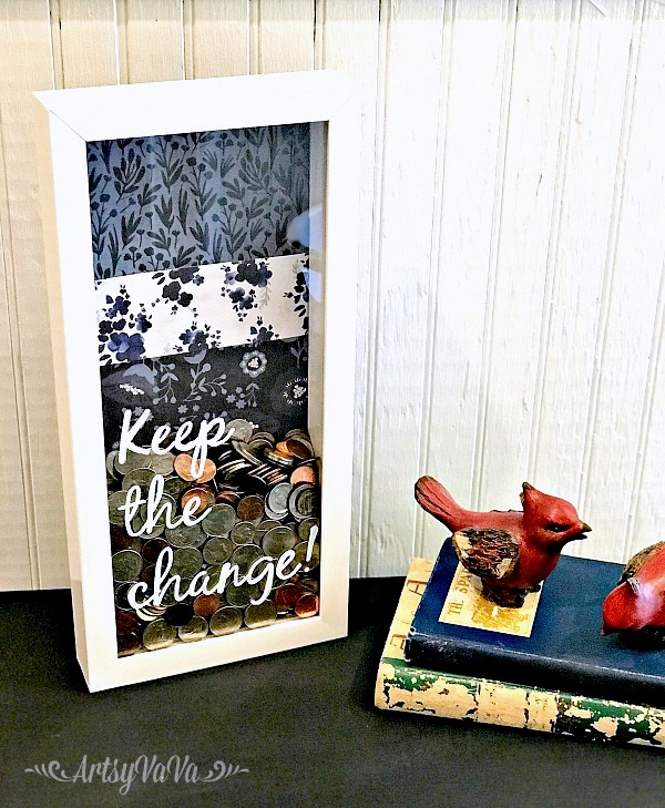 Shadowbox piggy bank change collector by Artsy VaVa, featured on Funky Junk Interiors