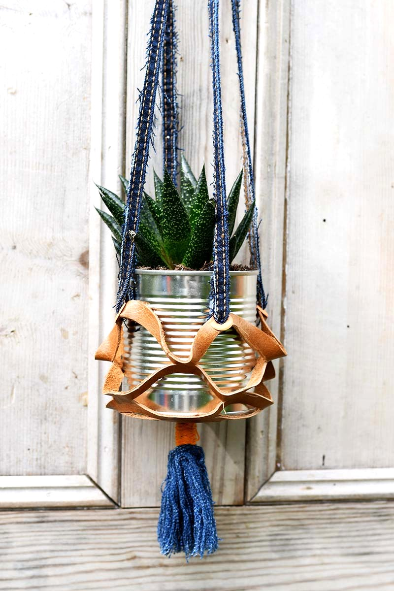 Cut denim and leather hanging tin can planters by Pillar Box Blue featured on Funky Junk Interiors