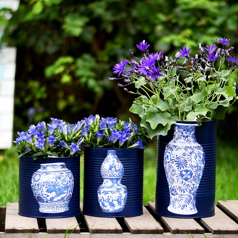 Faux oriental vases by Pillar Box Blue, featured on Funky Junk Interiors