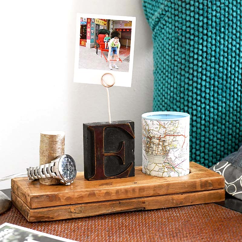 Nightstand organizer by Pillar Box Blue, featured on Funky Junk Interiors