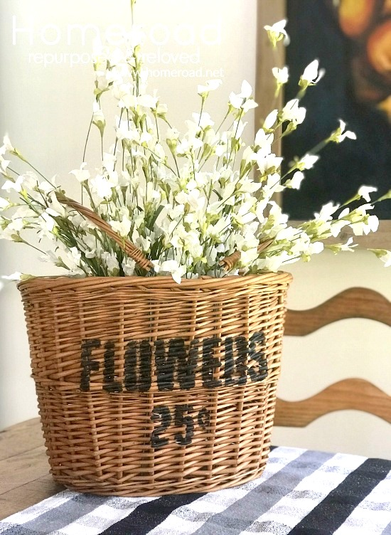 Stenciled wicker Flower basket by Homeroad, featured on Funky Junk Interiors