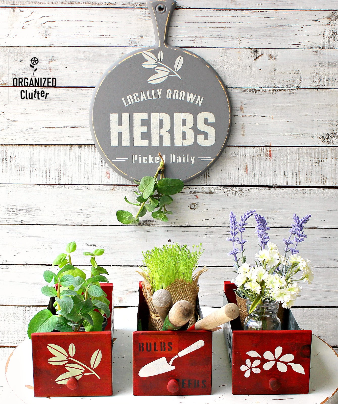 Garden-themed cutting board sign and drawer planters by Organized Clutter, featured on Funky Junk Interiors