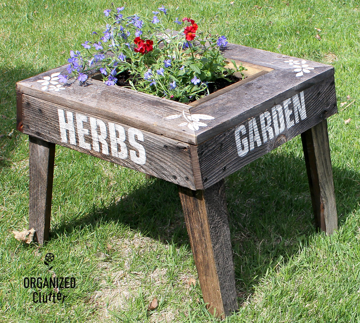 Rustic garden planter table by Organized Clutter, featured on Funky Junk Interiors