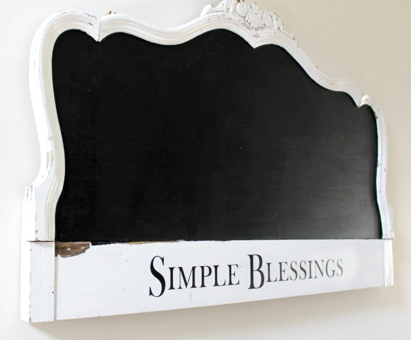 Repurposed headboard to chalkboard by Adirondack Girl At Heart, featured on Funky Junk Interiors