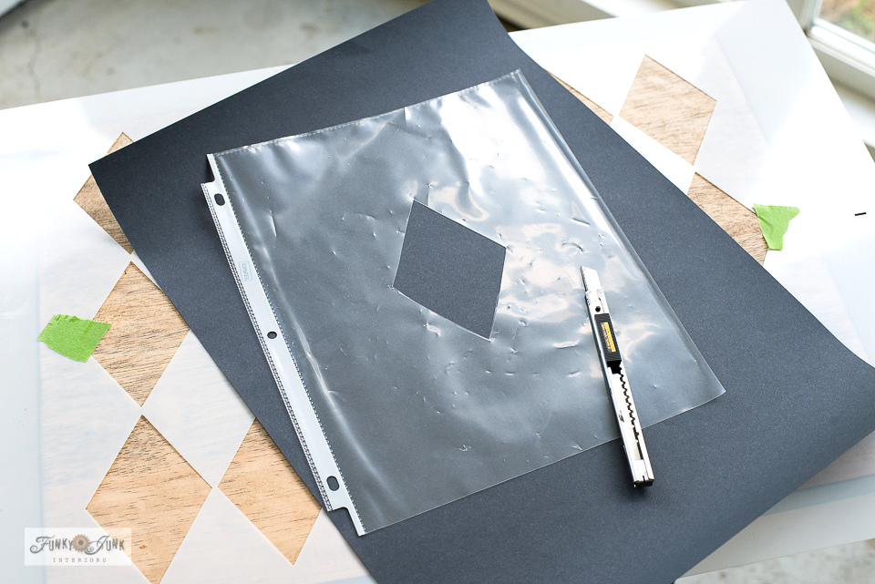 Cut a diamond template using a page protector to avoid paint bleed when using the 2-piece Argyle stencil.