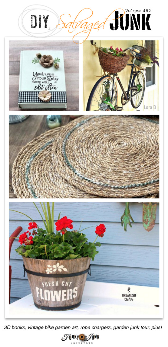 DIY Salvaged Junk Projects 482 - 3D books, vintage bike garden art, rope chargers, garden junk tour, plus! New up-cycled projects link party.