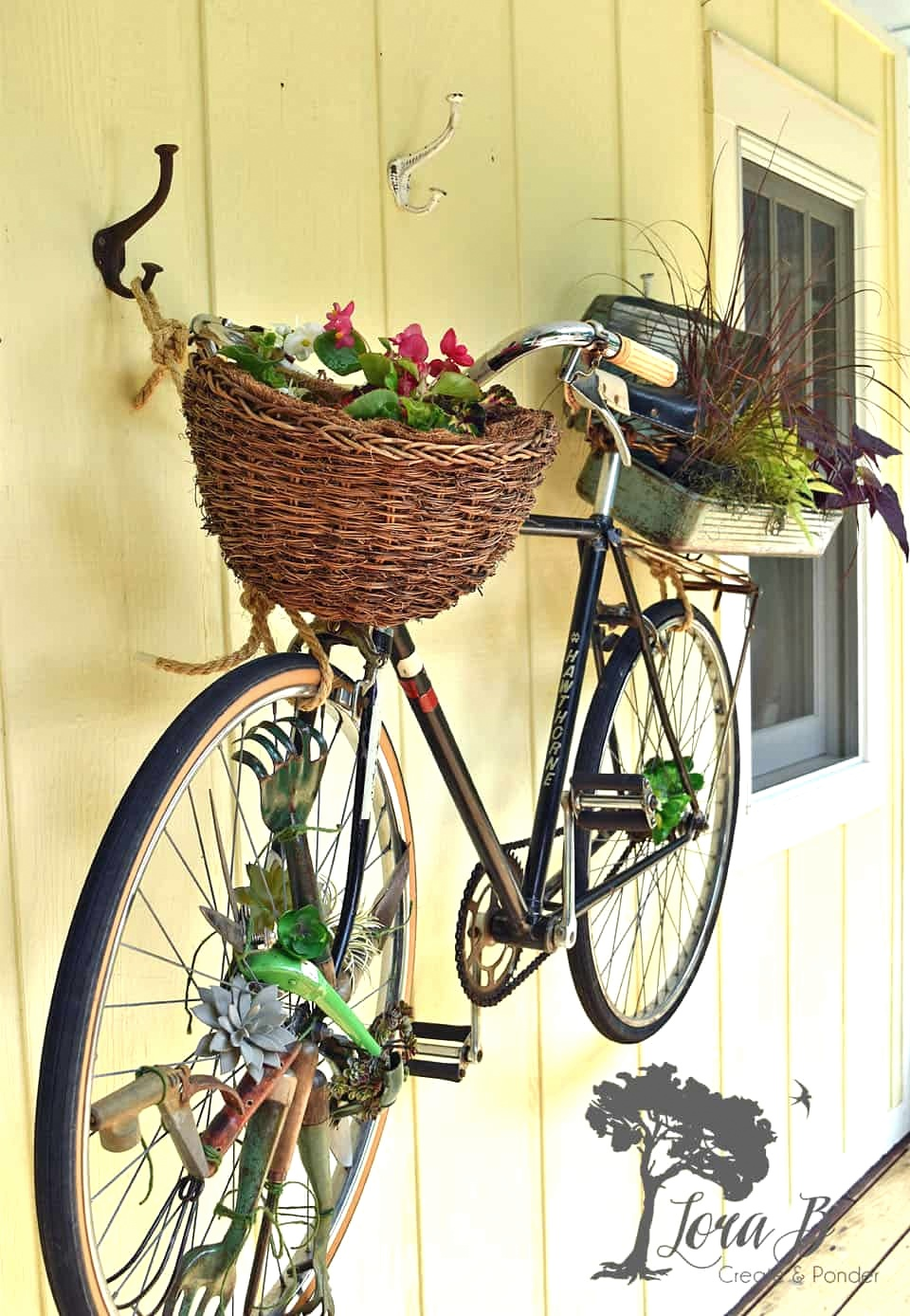 Vintage bike garden art by Lora By by Lora B, featured on Funky Junk Interiors