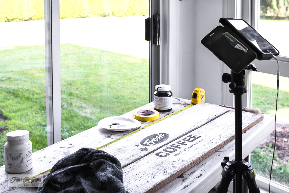filming the making of a rustic Fresh Coffee sign on Instagram Stories from an iphone.