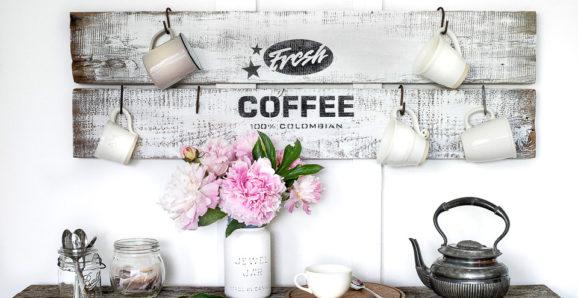 rustic fresh coffee sign