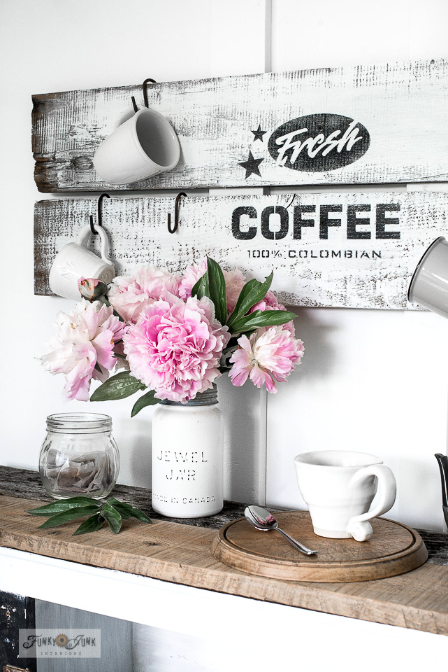 Learn how to stencil this rustic black and white Fresh Coffee sign that hangs coffee mugs in a kitchen. With Funky Junk's Old Sign Stencils and Fusion Mineral Paint. Click to learn how.