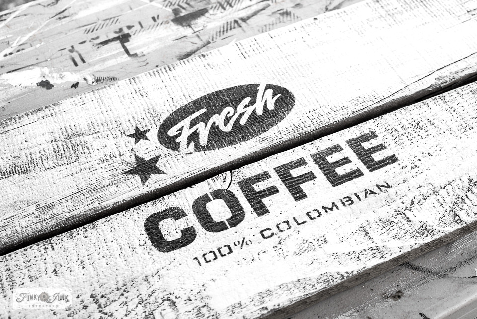 Learn how to stencil this rustic Fresh Coffee sign that hangs coffee mugs in a kitchen. With Funky Junk's Old Sign Stencils and Fusion Mineral Paint. Click to learn how.
