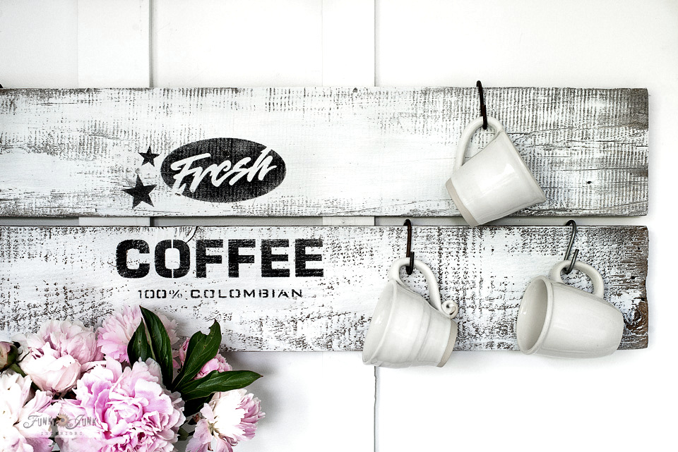 Learn how to stencil this rustic Fresh Coffee sign on reclaimed wood planks! #coffeesign #coffee #signs #stencils