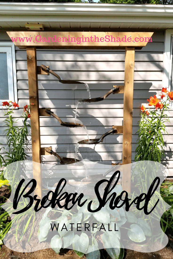 Broken shovel waterfall by Gardening In The Shade, featured on Funky Junk Interiors