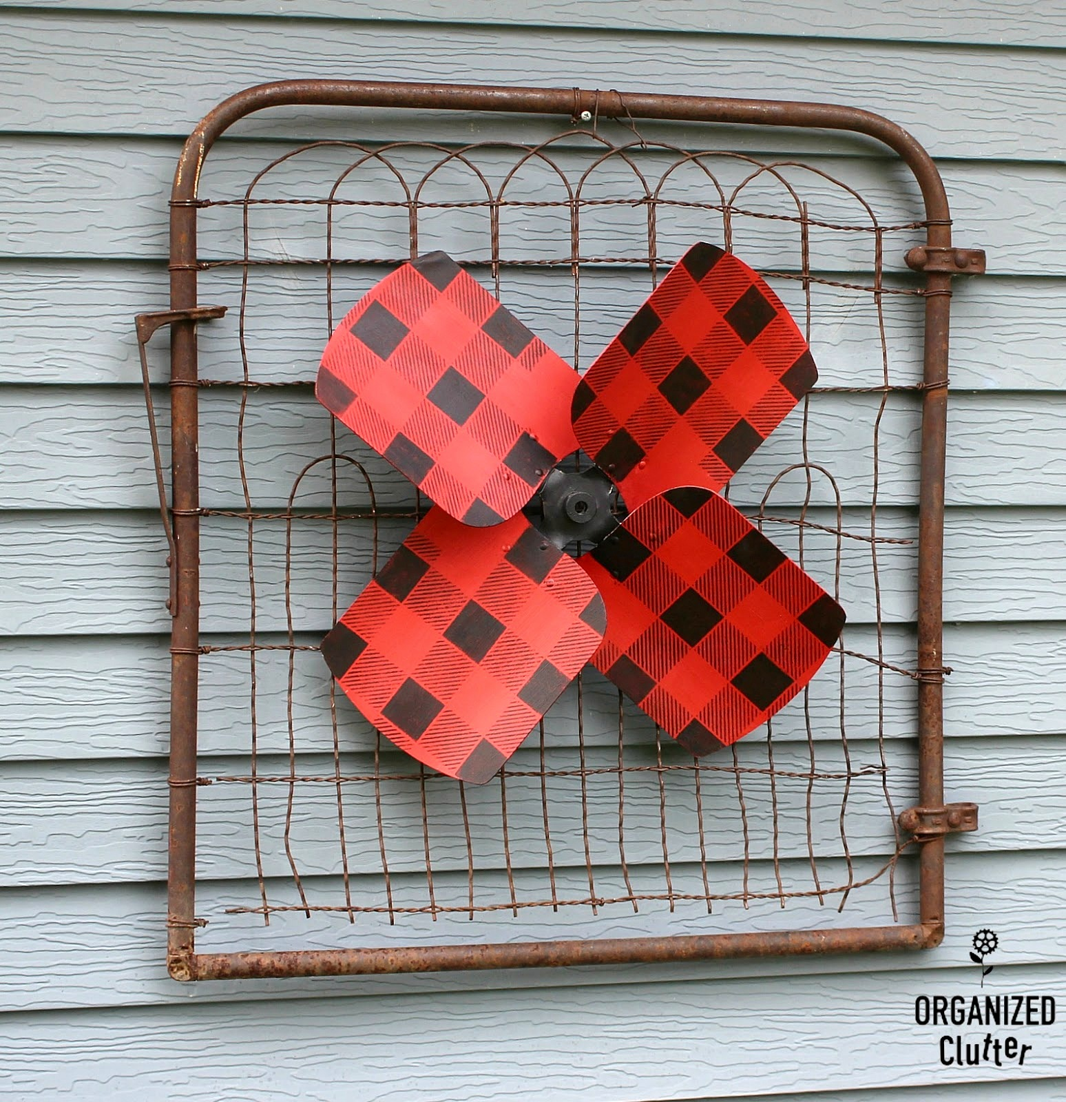 Buffalo Checked fan blade garden art by Organized Clutter, featured on Funky Junk Interiors