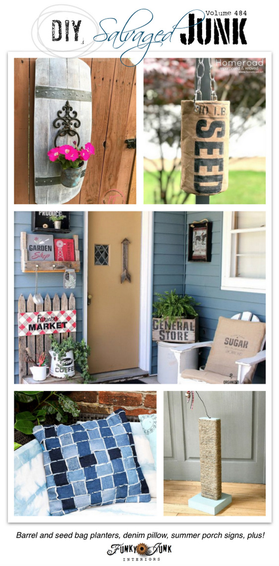 DIY Salvaged Junk Projects 484 - Barrel and seed bag planters, denim pillow, summer porch signs, plus! Up-cycled projects link party.