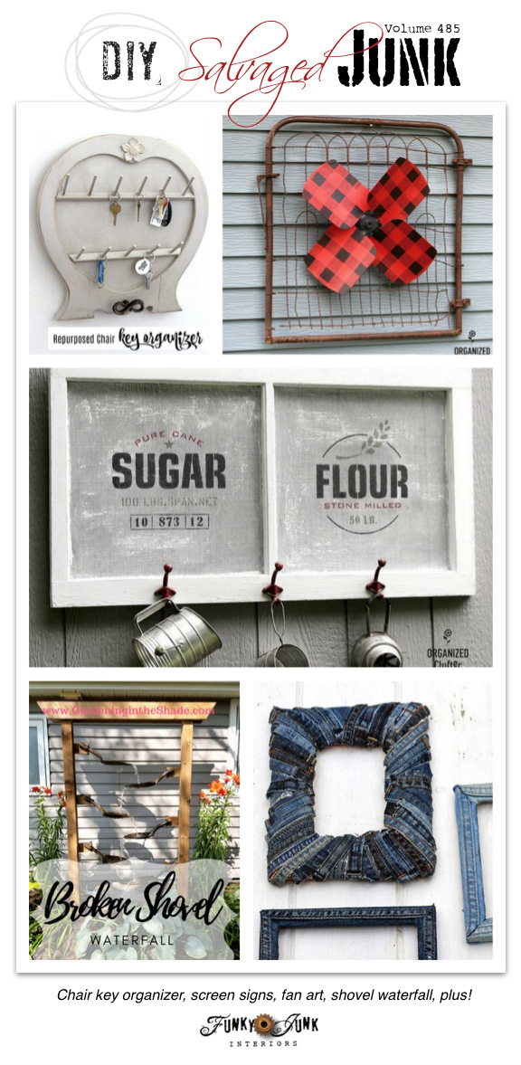 DIY Salvaged Junk Projects 485 - Chair key organizer, screen signs, fan art, shovel waterfall, plus! Click to visit all up-cycled link party projects and bring your own!