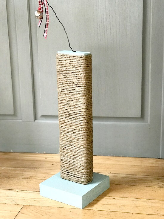 Stock lumber and twine cat scratcher by Homeroad, featured on Funky Junk Interiors
