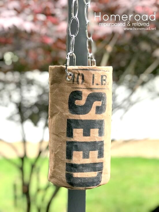 Faux grain sack seed planter by Homeroad, featured on Funky Junk Interiors