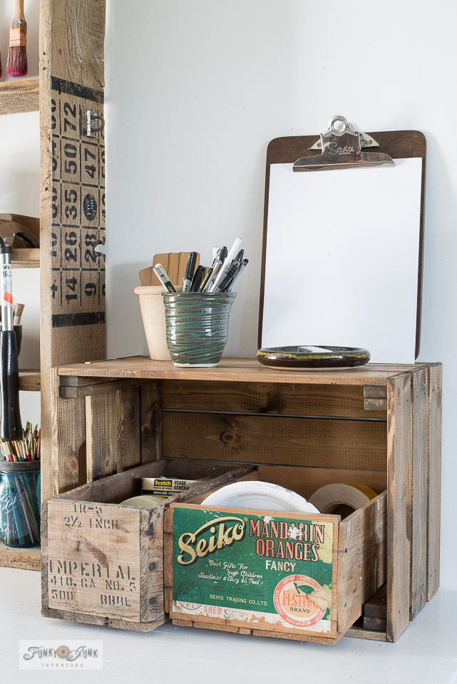 Stack 3 vintage crates together to make this handy note station area.