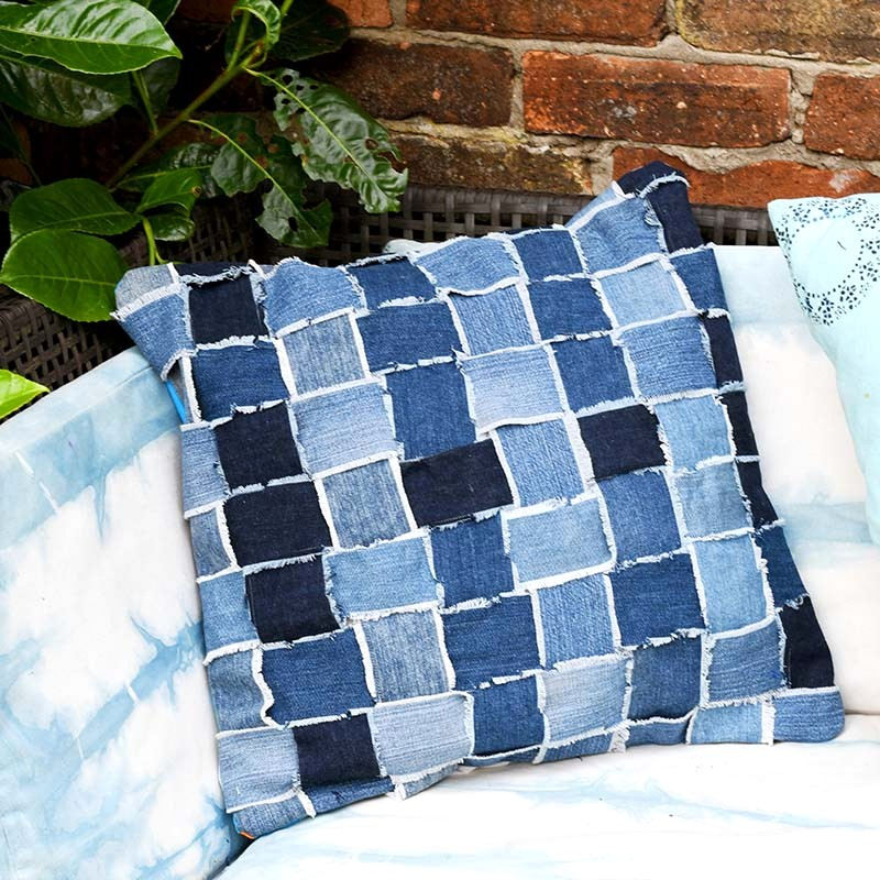 Upcycled woven denim throw pillow by Pillar Box Blue, featured on Funky Junk Interiors