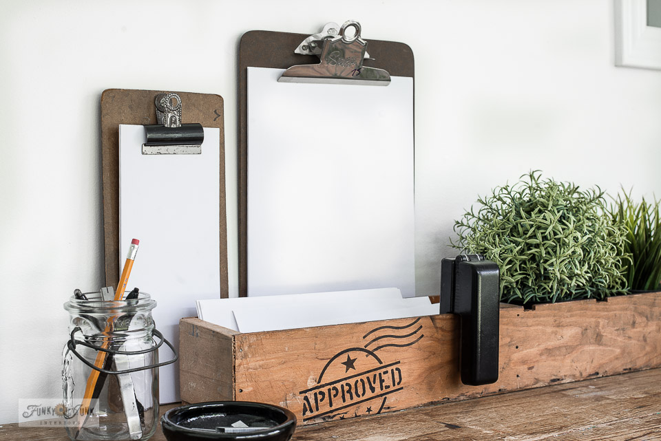 Learn how to revamp a simple crate into resembling being made out of shipping crate parts with Funky Junk's Old Sign Stencils!