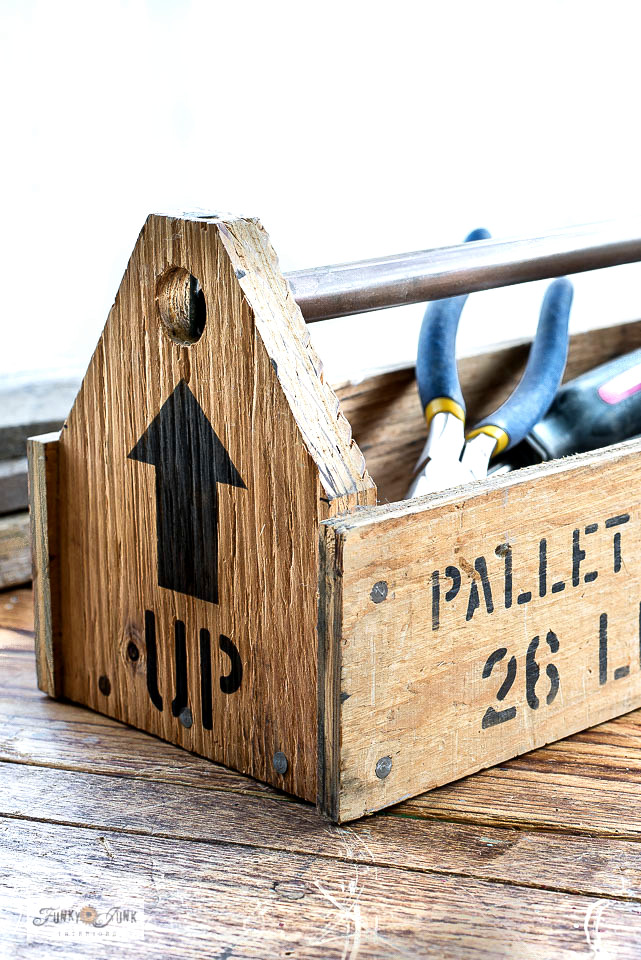 Learn how to revamp a simple plywood toolbox into resembling being made out of shipping crate parts with Funky Junk's Old Sign Stencils!
