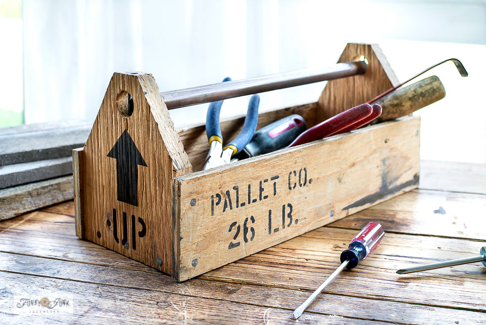 plywood toolbox with shipping crate stamp stencils