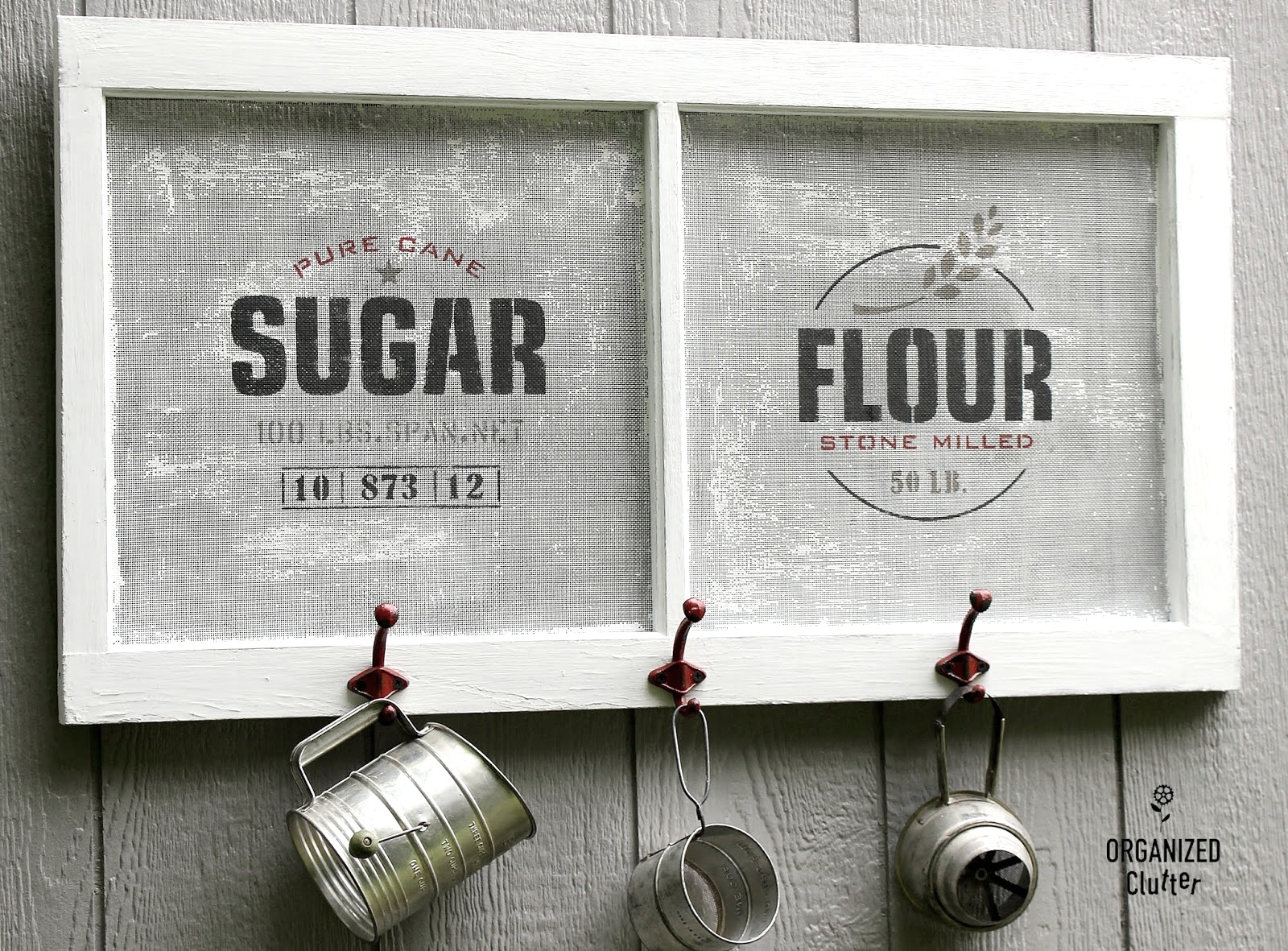 Farmhouse window screen grain sack signs with hooks by Organized Clutter, featured on Funky Junk Interiors