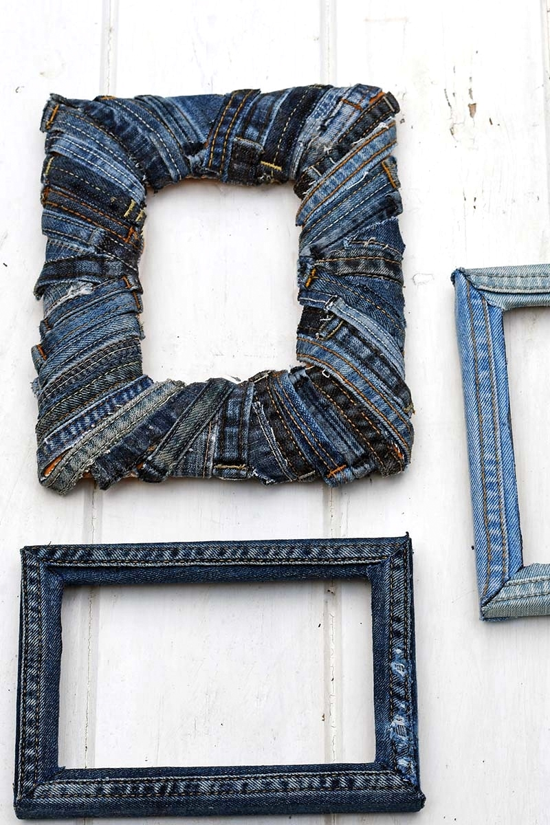 Denim photo frames by Pillar Box Blue, featured on Funky Junk Interiors