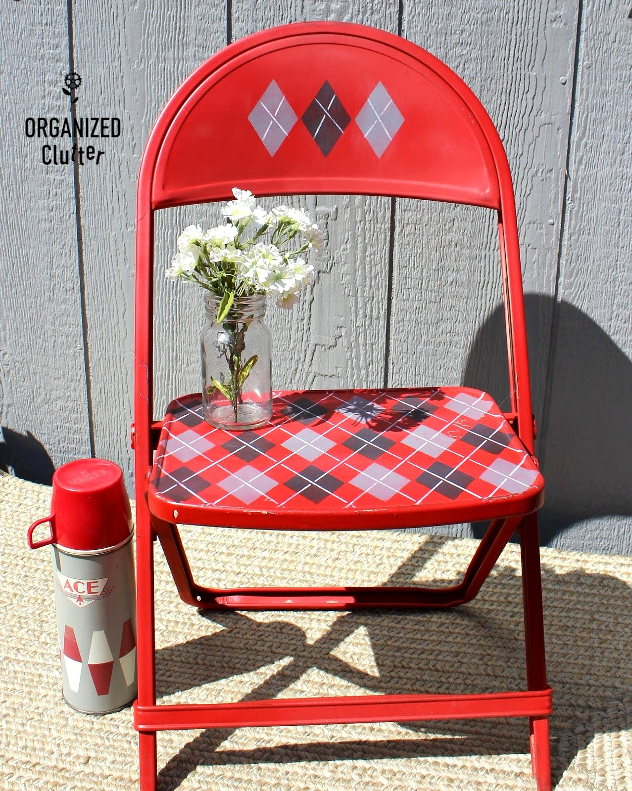 Stenciled argyle chair makeover by Organized Clutter, featured on Funky Junk Interiors