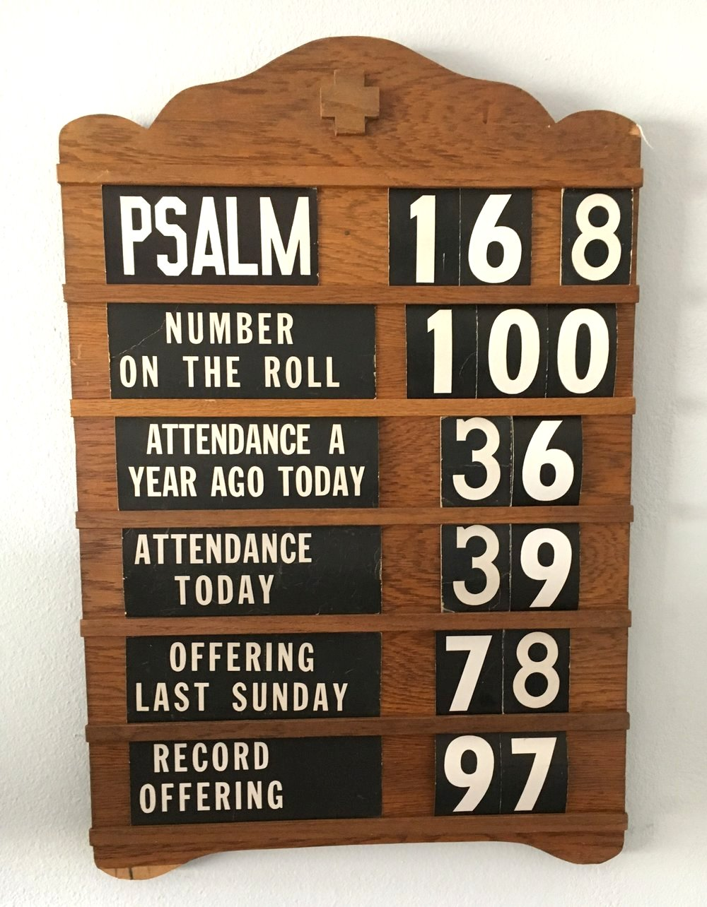 Vintage church register board by Whispers of the Heart, featured on Funky Junk Interiors