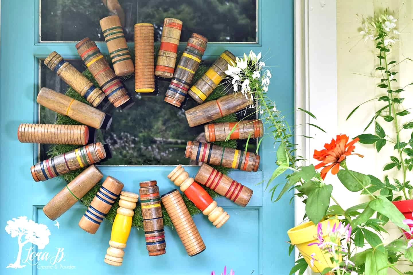 Croquet mallet head door wreath by Lora B, featured on Funky Junk Interiors