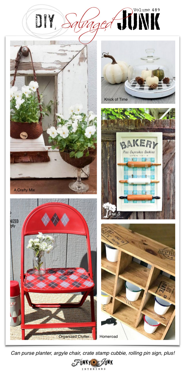 DIY Salvaged Junk Projects 489 - Can purse planter, argyle chair, crate stamp cubbie, rolling pin sign, plus! Upcycled projects link party - click to join!
