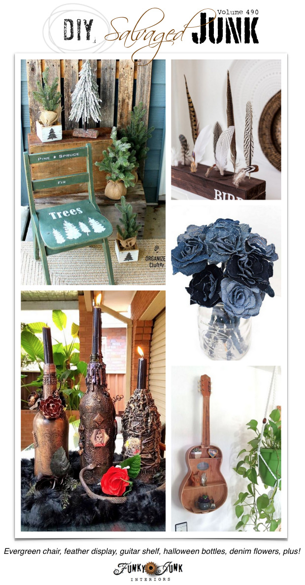 DIY Salvaged Junk Projects 490 - Evergreen chair, feather display, guitar shelf, halloween bottles, denim flowers, plus! Features with an up-cycled projects link party.
