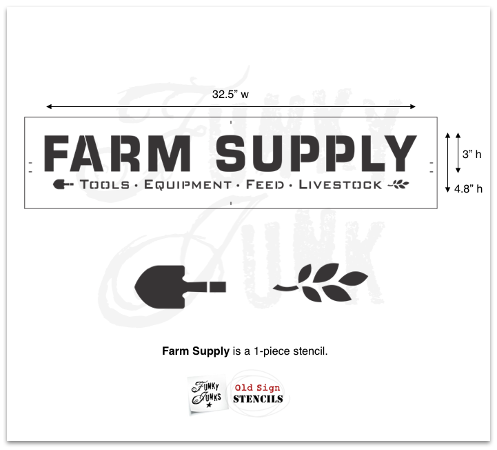Learn how to make a farm styled Farm Supply antique sign with this stencil from Funky Junk's Old Sign Stencils