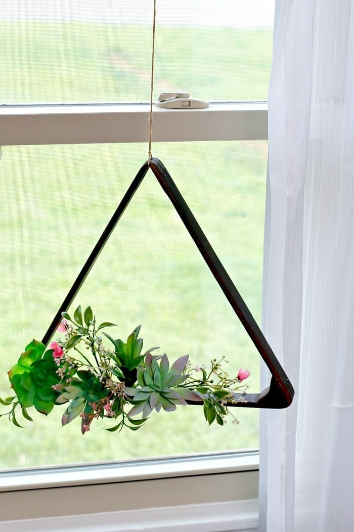 Pool ball rack plant hanger by Petticoat Junktion, featured on Funky Junk Interiors