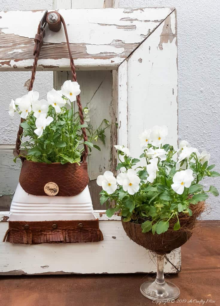 Recycled tin can handbag planter by A Crafty Mix, featured on Funky Junk Interiors