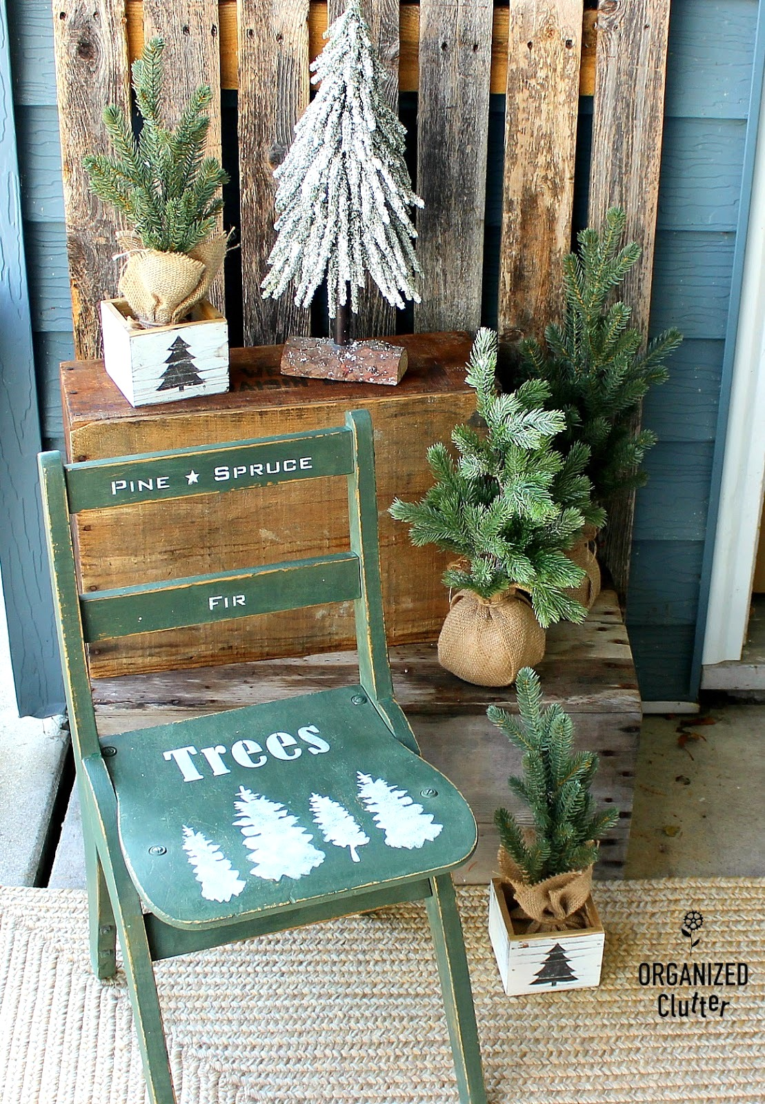 Christmas tree inspired vintage chair makeover by Organized Clutter, featured on Funky Junk Interiors